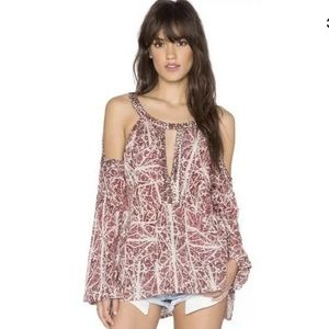 Free people size xs cold shoulder shirt red boho